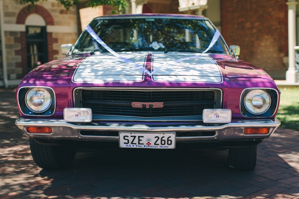 Purple wedding car