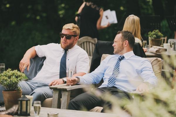 Two men sitting talking