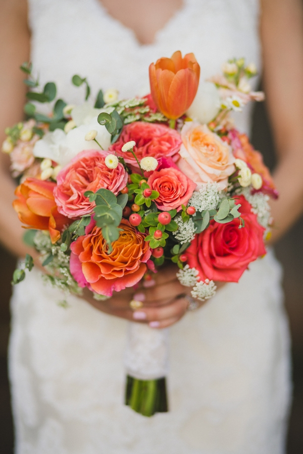 Bride's colourful bouquet