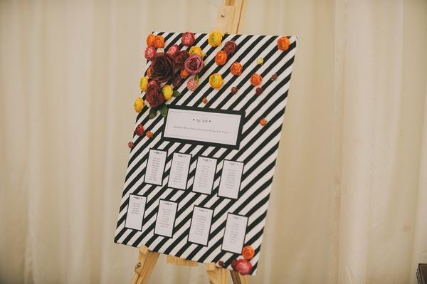 Black and white stripes wedding table plan