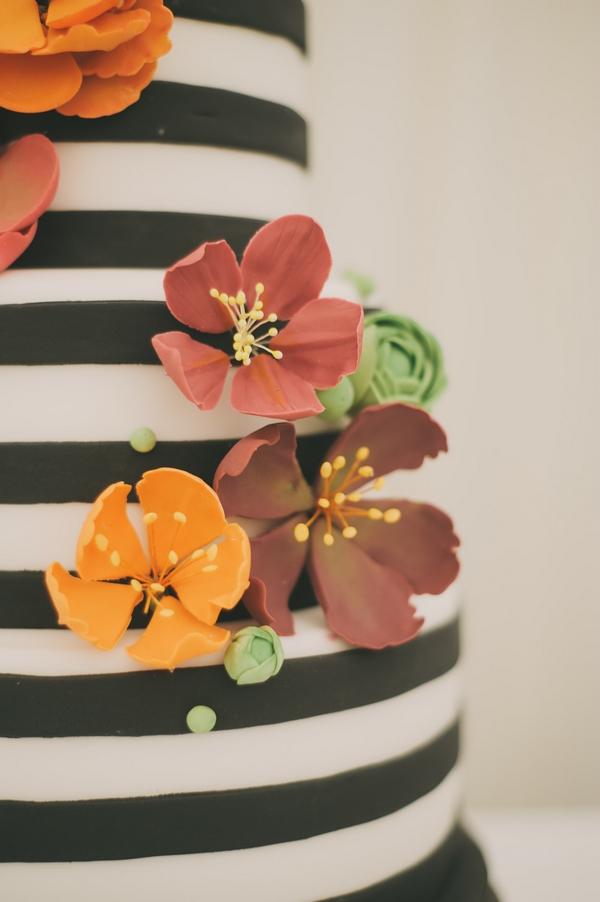 Black and white striped wedding cake