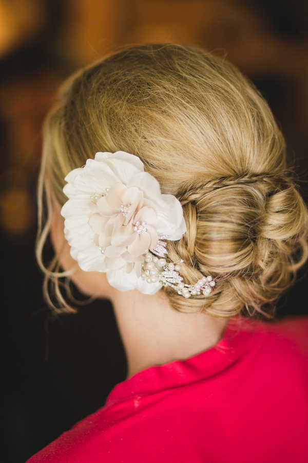 Flower in bride's hair