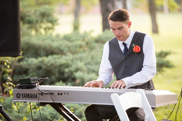 Pianist at wedding ceremony