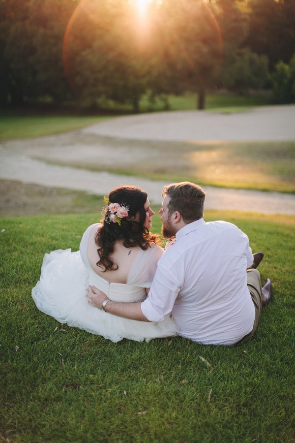 Bride and groom sitting