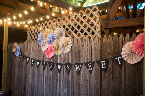 Wedding bunting in barn