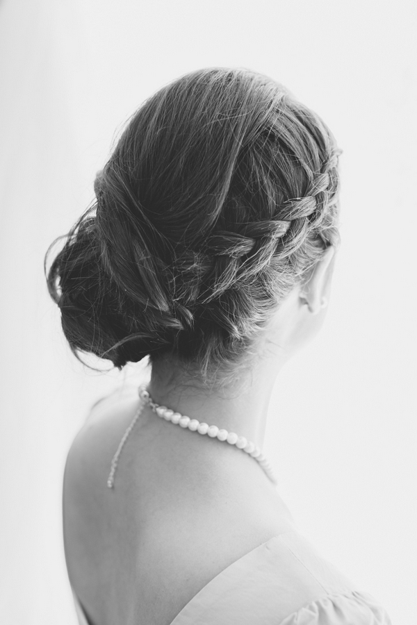 Bridesmaid with braid in hair