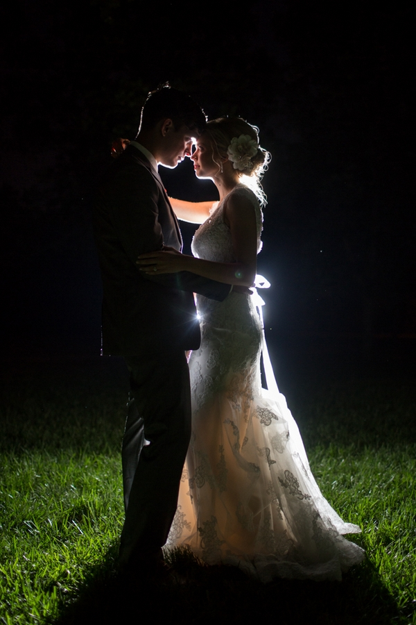 Bride and groom in dark