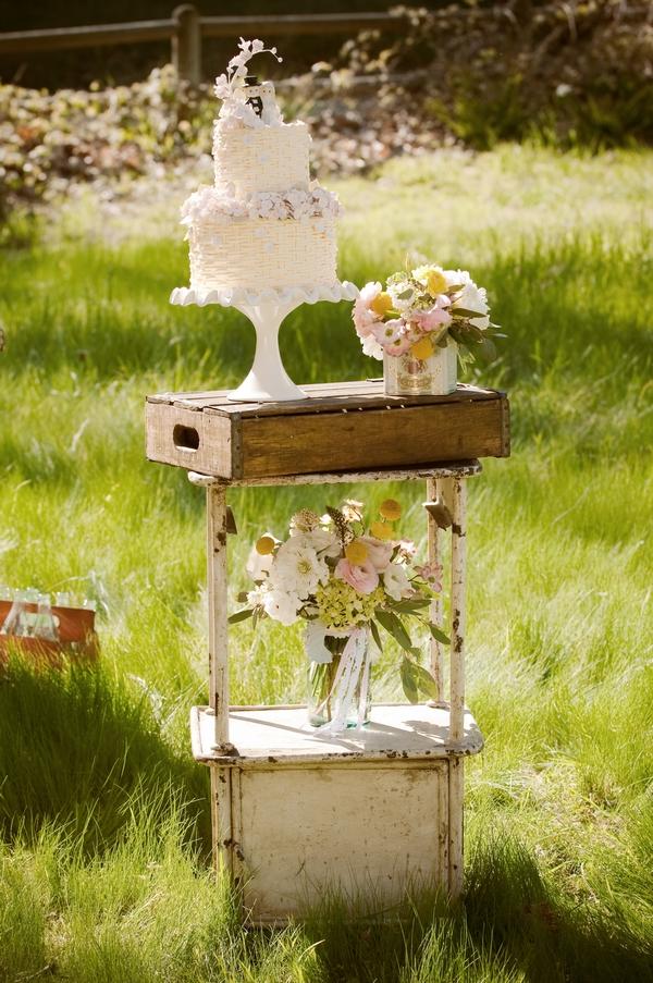 Wedding cake on vintage table