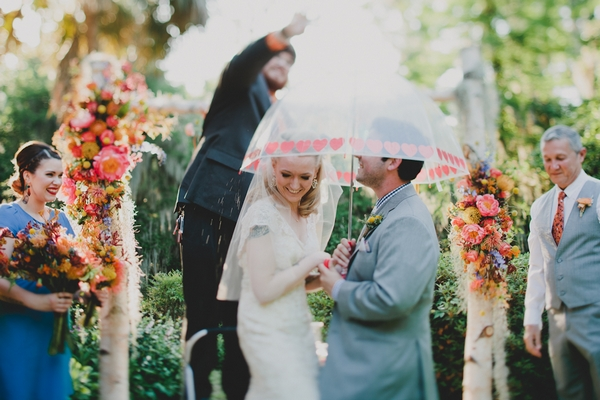 Sweet shower over bride and groom in wedding ceremony
