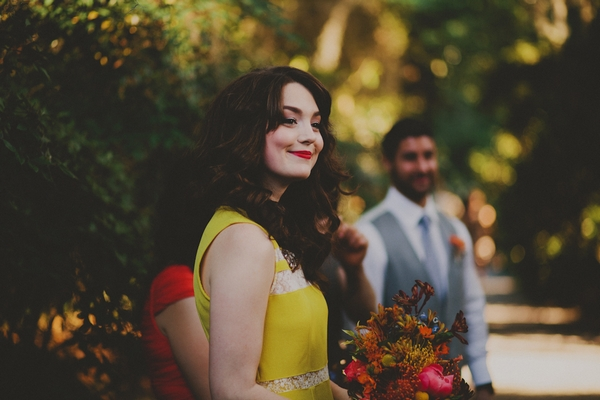 Bridesmaid in yellow dress