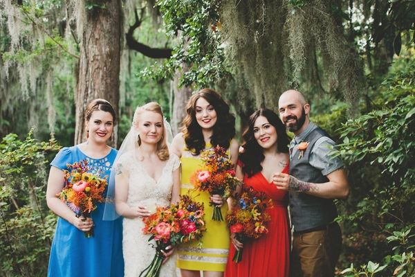 Bride, bridesmaids and groomsman