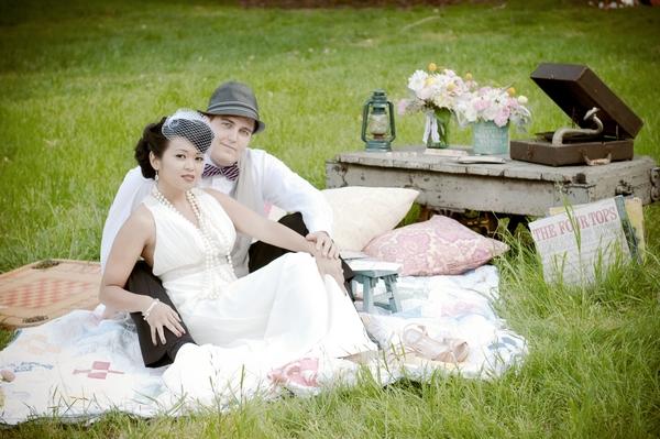 Vintage bride and groom