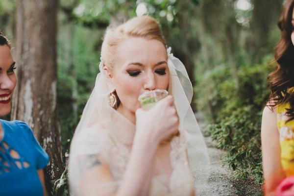 Bride drinking