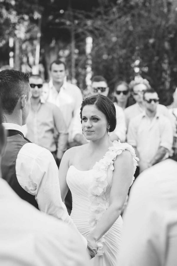 Bride in outdoor wedding ceremony