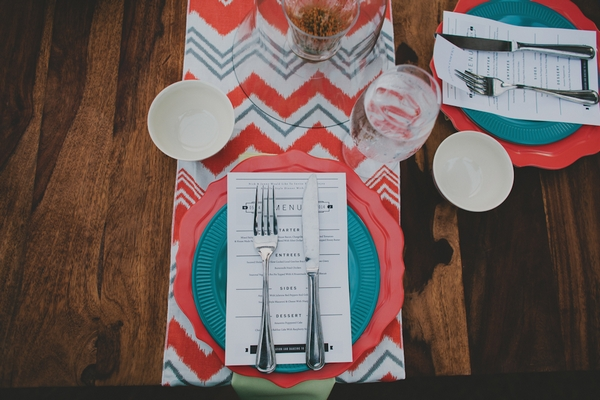 Colourful wedding place setting