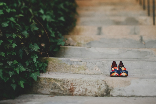 Colourful bridal shoes on steps