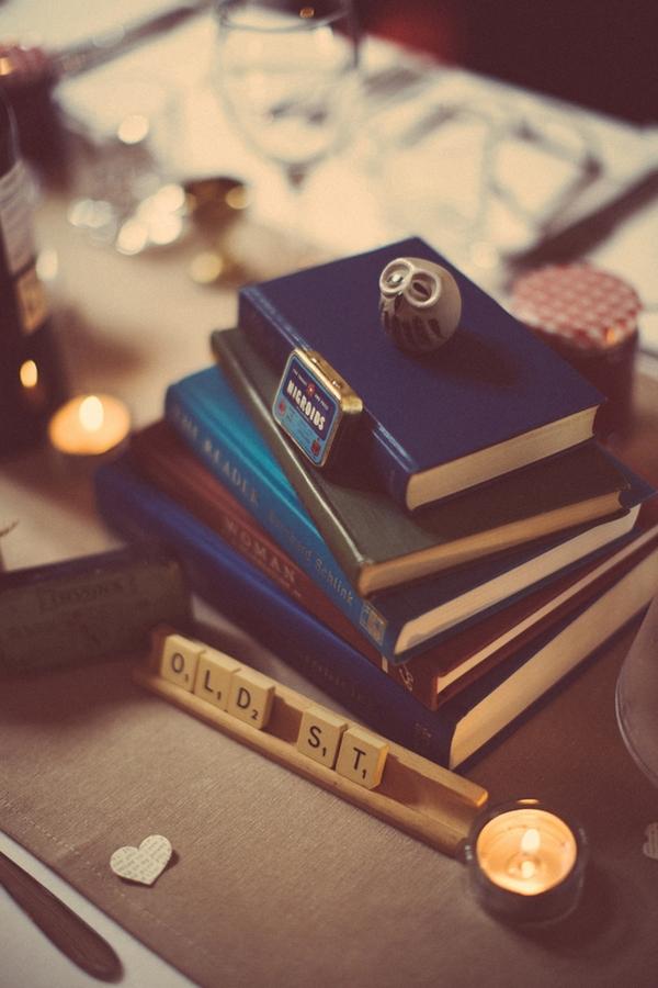 Books on wedding table