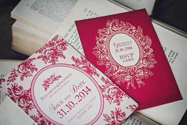 Pink Victorian style wedding stationery