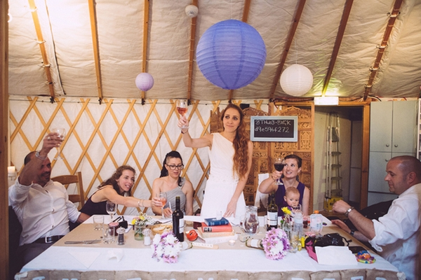 Bride raising toast