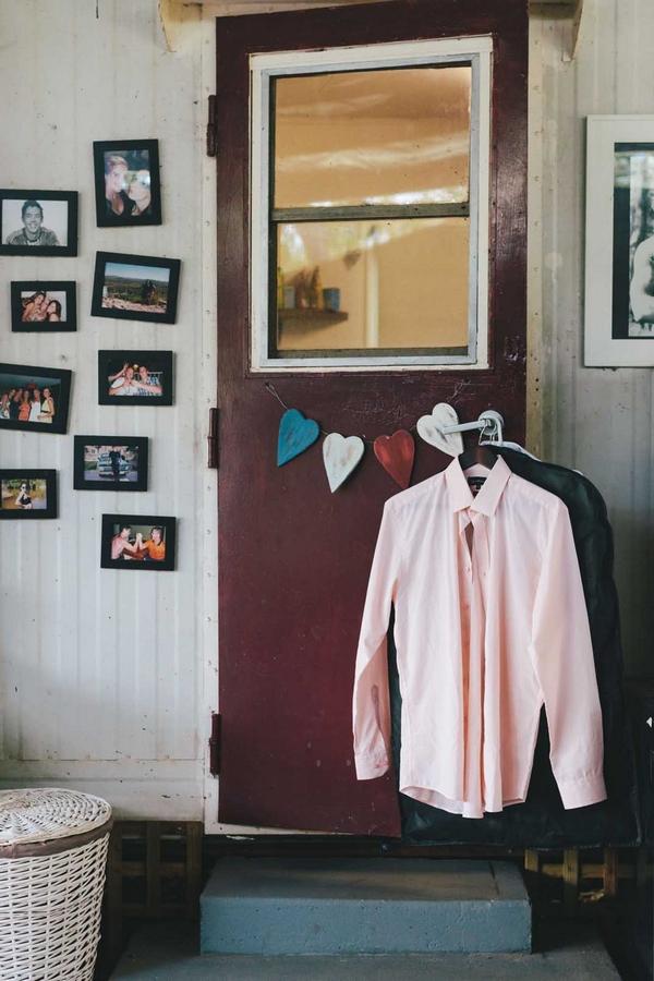 Shirt hanging on door handle