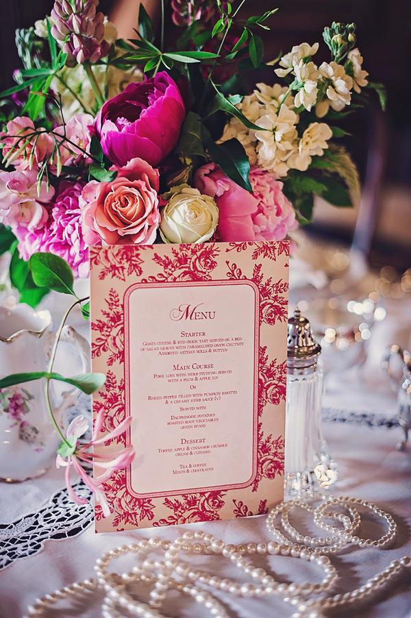 Victorian style wedding menu