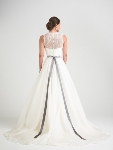 Back of Bellisima Wedding Dress with Hollie Shrug - Caroline Castigliano Opera 2015 Bridal Collection