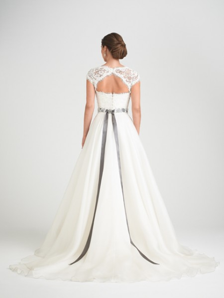 Back of Bellisima Wedding Dress with Rosalina Shrug - Caroline Castigliano Opera 2015 Bridal Collection