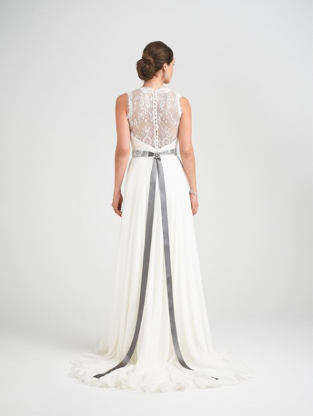 Back of Charm School Wedding Dress with Hollie Shrug - Caroline Castigliano Opera 2015 Bridal Collection