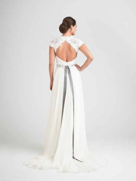 Back of Charm School Wedding Dress with Intrigue Shrug - Caroline Castigliano Opera 2015 Bridal Collection