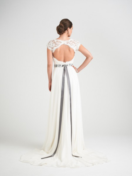 Back of Charm School Wedding Dress with Rosalina Shrug - Caroline Castigliano Opera 2015 Bridal Collection