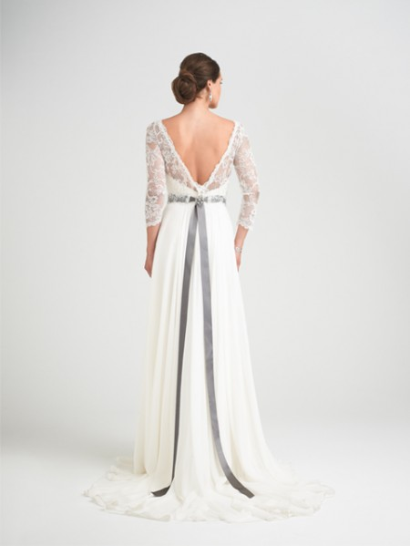 Back of Charm School Wedding Dress with Svetlana Shrug - Caroline Castigliano Opera 2015 Bridal Collection