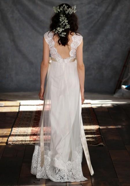 Back of Queen Annes Lace Wedding Dress - Claire Pettibone Romantique 2015 Bridal Collection