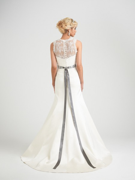 Back of Romelli Wedding Dress with Hollie Shrug - Caroline Castigliano Opera 2015 Bridal Collection