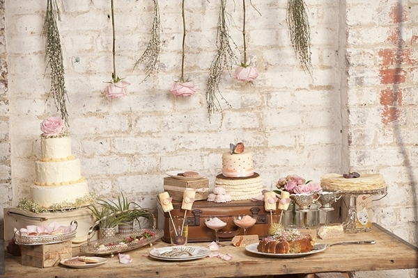 Table of wedding cakes and biscuits