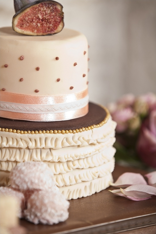 Wedding cake with spots and ruffles