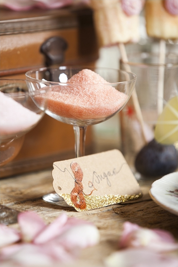 Pink sugar in glass