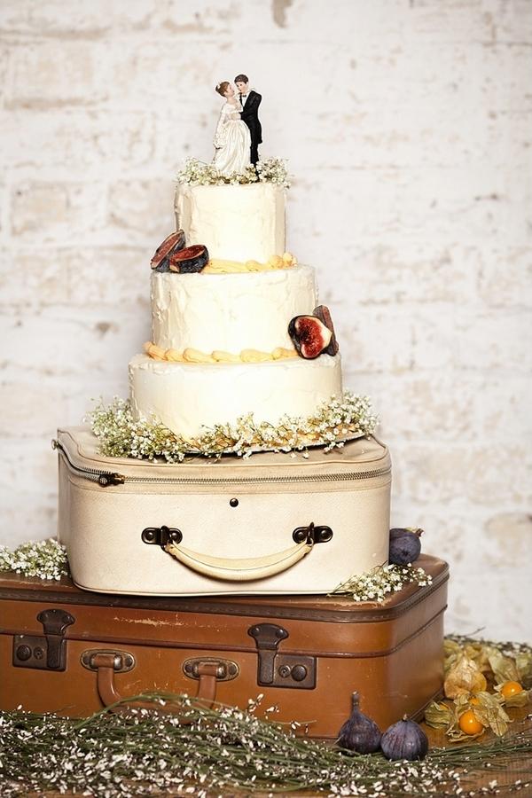 Wedding cake on old suitcase