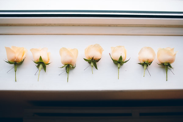 White rose buttonholes