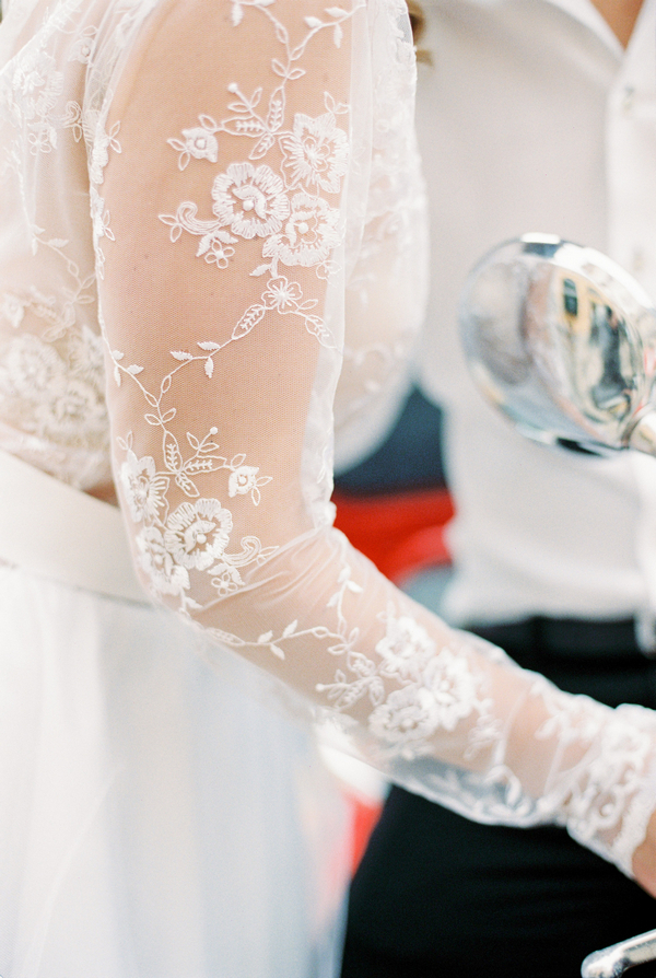 Lace sleeve on bride's dress