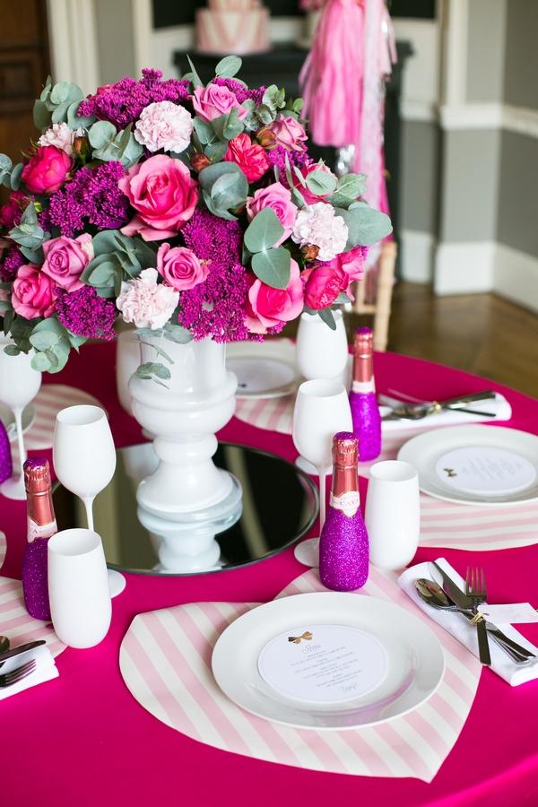 Pink wedding place setting