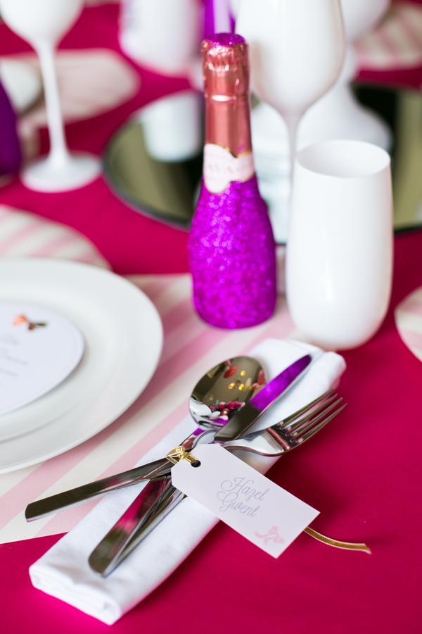 Cutlery on pink wedding table