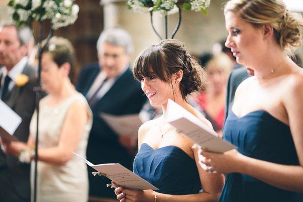 Bridesmaids singing hymn
