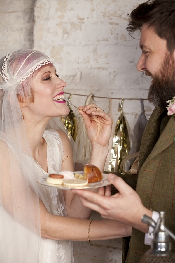 Bride eating cakes