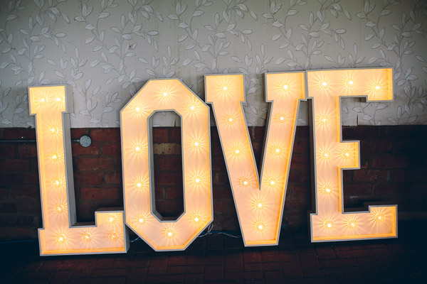 Large illuminated LOVE sign