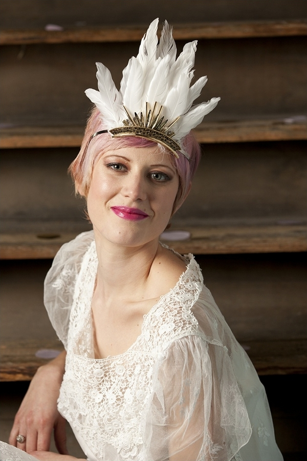 Bride with feather headpiece