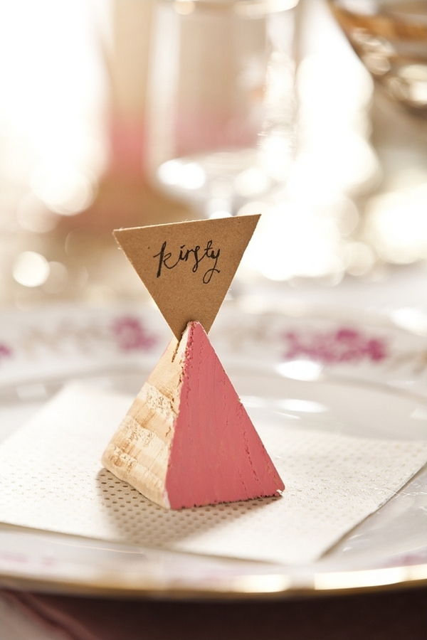 Triangle wedding place name card