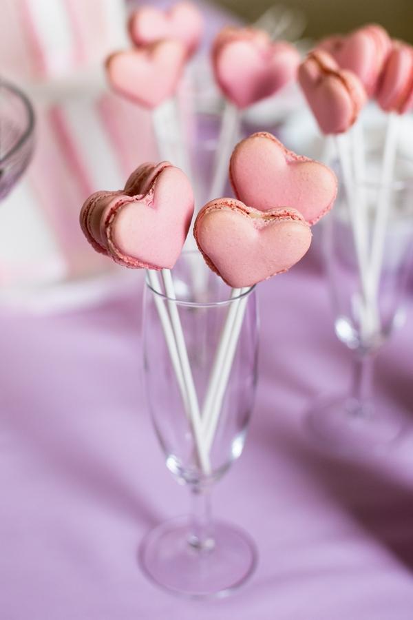 Heart macarons on sticks