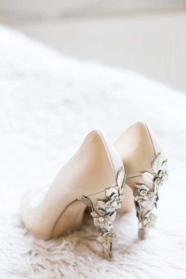 Bride's shoes with detailed heels
