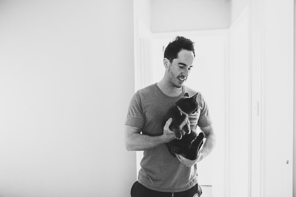 Man holding cat