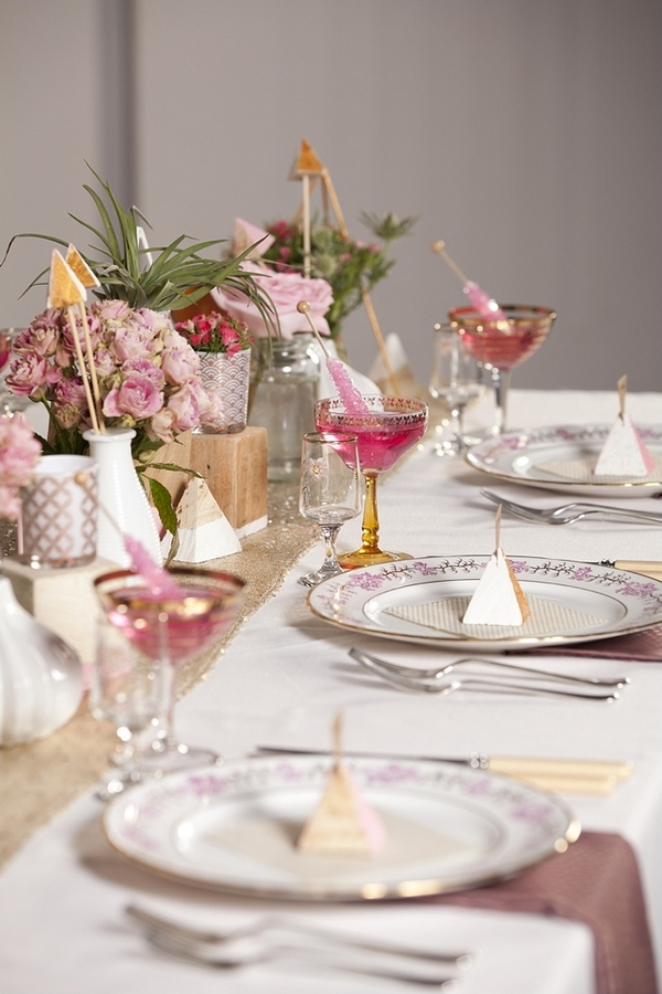 Glasses and plates on wedding table